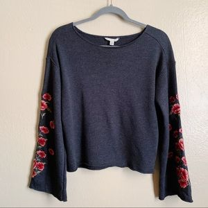 American Eagle Gray Embroidered Bell Sleeve Shirt
